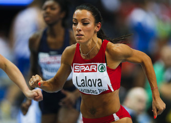 Lalova of Bulgaria competes in the 60m Women Round 1 event at the European Athletics Indoor Championships in Gothenburg