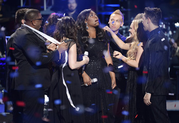 """Winning contestant Candice Glover is congratulated during the Season 12 finale of """"American Idol"""" in Los Angeles"""