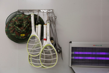 Electric swatters are seen inside Sun Yat-Sen University-Michigan State University Joint Center of Vector Control for Tropical Disease in Guangzhou, China
