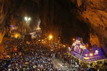 Hindu devotees gather at the shrine in Batu Caves temple during Thaipusam in Kuala Lumpur