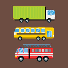 Fire truck car cartoon delivery transport cargo bus logistic isolated vector illustration.