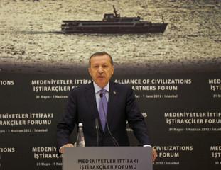 Turkish PM Erdogan and U.N. General Secretary Ban speaks during the Alliance Of Civilizations Partners Forum in Istanbul