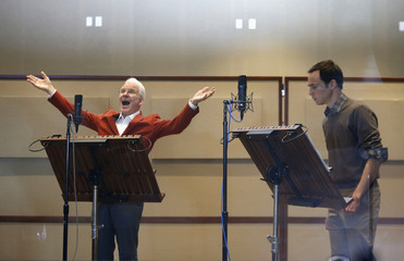 Steve Martin and Jim Parsons voice characters for the new Dreamworks Animation movie 'Home' in Glendale, California