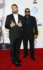O'Shea Jackson Jr. and rapper Ice Cube arrive at the 47th NAACP Image Awards in Pasadena