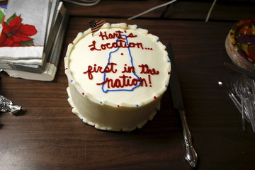 A cake for residents to eat is photographed at the town hall ahead of New Hampshire's first-in-the-nation primary in Hart's Location