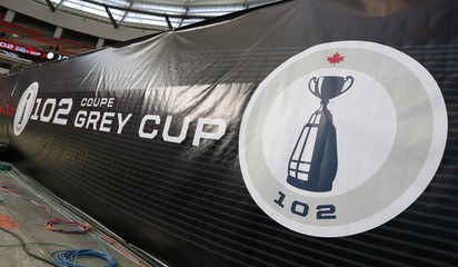 The logo of the CFL's 102nd Grey Cup football championship is shown in the stadium in Vancouver