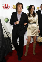 "Paul McCartney and Nancy Shevell arrive for the fifth anniversary celebration of ""The Beatles LOVE by Cirque du Soleil"" show at the Mirage Hotel and Casino in Las Vegas"