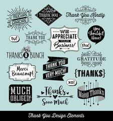 Set of thank you card design elements with separate distressed layer. Vector illustration.
