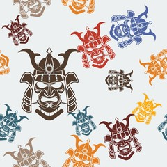 Editable Samurai Mask Vector Illustration Seamless Pattern