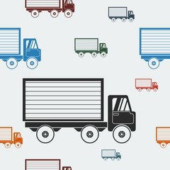 Editable Shipping Truck Vector Illustration Seamless Pattern