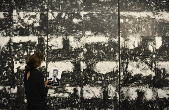 'Landscape No 87' by John Virtue part of British pop star David Bowie's art collection, is exhibited during a press view at Sotheby's auction house, in central London