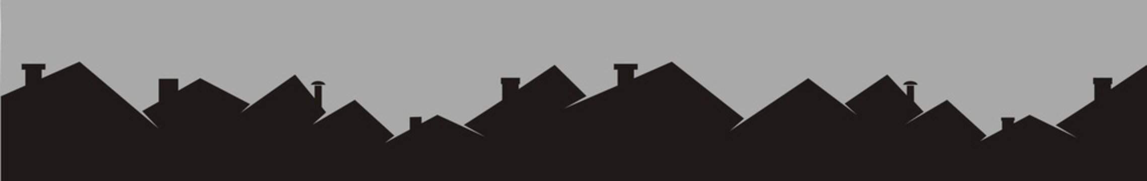Roofs and chimneys, cityscape, black silhouette, vector icon.