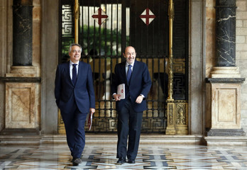 Spanish Socialist main opposition leader Rubalcaba and Catalan Socialist party leader Navarro arrive for talks with Catalan regional president Mas about the political situation between Catalunya and Spain at Palau de la Generalitat in Barcelona