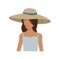pretty happy woman wearing big sun hat icon image vector illustration design