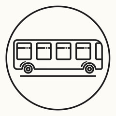 Minimal outline bus icon, vector shuttle sign, ecological city transport symbol