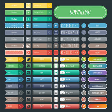 Colorful website web buttons design vector illustration glossy graphic label internet confirm template