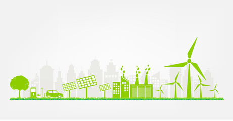 Windmills and Solar cells for generating electricity power for green city, vector illustration Wall mural