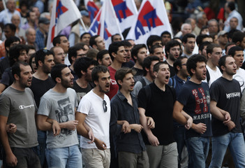 PAME protesters march during a rally against a new austerity package in central Athens