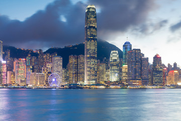 City office building light Hong Kong business downtown seafront night view, cityscape background