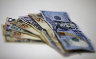 Brazilian Real and U.S. dollar notes are pictured at a currency exchange office in Rio de Janeiro