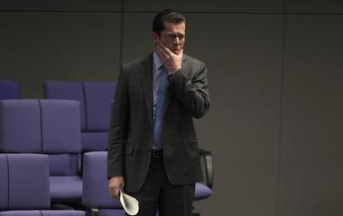 German Defence Minister zu Guttenberg attends Bundestag session in Berlin