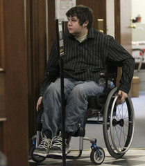 Nick Walczak, one of three students injured by T. J. Lane, enters courtroom in Chardon, Ohio