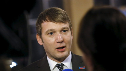 Poggenburg of the right-wing AFD gives an TV interview during a rally in Bitterfeld