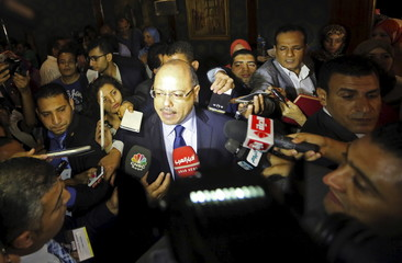 Egypt's Finance Minister Hany Kadry Dimian talks to the media during the Euromoney Conference in Cairo, Egypt
