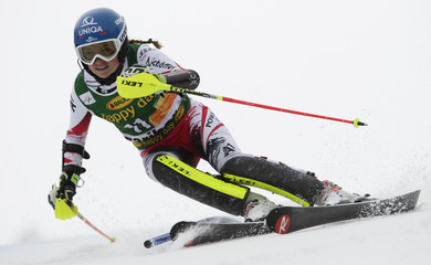 Schild of Austria clears a pole during the women's slalom of the Alpine Skiing World Cup in Maribor