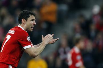 Munich's Van Bommel gestures during their Champions League soccer against Manchester in Munich