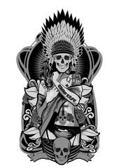 Native American girl with skulls headdress. Vector illustration