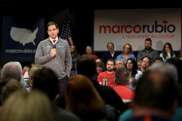 U.S. Republican presidential candidate Senator Marco Rubio speaks during a campaign rally in Council Bluffs, Iowa