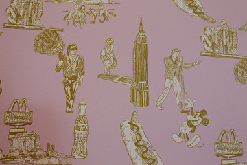 """Wallpaper is seen inside the 810-square-foot living room atop the Columbus Monument art installation titled """"Discovering Columbus,"""" by Japanese artist Nishi in New York"""