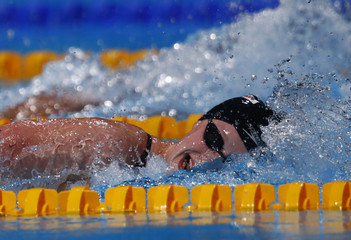 Ledecky of the U.S. swims in the women's 1500m freestyle final during the World Swimming Championships at the Sant Jordi arena in Barcelona