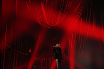 "Madonna performs ""Living for Love"" at the 57th annual Grammy Awards in Los Angeles"