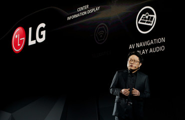 Dr. Skott Ahn, president and chief technology officer of LG Electronics, speaks about LG auto technology during the LG press conference at CES in Las Vegas