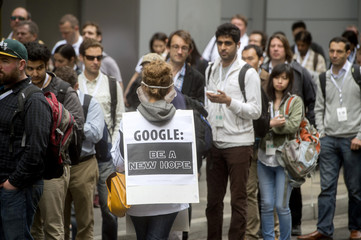 Bernath-Plaisted protests outside the Google I/O developers conference in San Francisco, California
