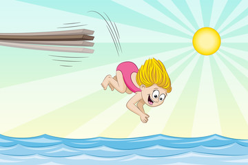 Little girl is jumping from a jumpboard into the water