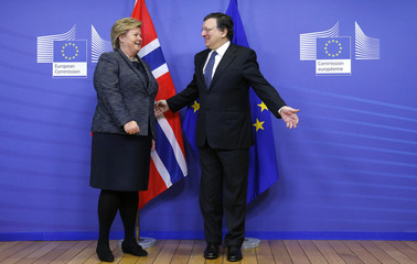EU Commission President Barroso welcomes Norwegian PM Solberg in Brussels
