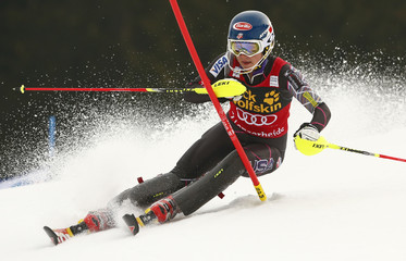 Shiffrin of the U.S. clears a pole during the first run of the women's slalom at the FIS Alpine Skiing World Cup Finals in Lenzerheide