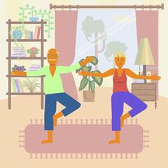 Elderly people doing exercises. Healthy active lifestyle retiree. Sport for grandparents, elder fitness, yoga for Seniors isolated on white background. Vector illustration eps10