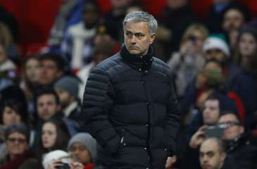 Manchester United manager Jose Mourinho walks off before the half time whistle