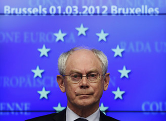 European Council President Van Rompuy attends a news conference after a tripartite social summit in Brussels