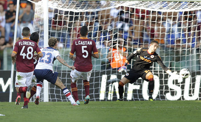 Bologna's Diamanti shoots to score against AS Roma during their Serie A soccer match at the Olympic stadium in Rome