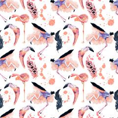 Watercolor flamingo seamless pattern isolated on the white background