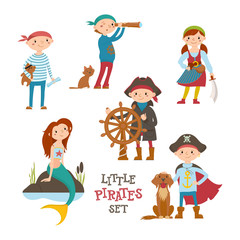 Set of cute cartoon little pirate, sailor kids and mermaid