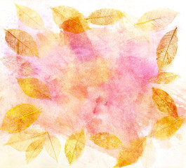 Frame with skeleton leaves on abstract pink texture, golden toned