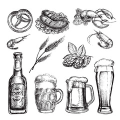 hand drawn sketch illustration set beer