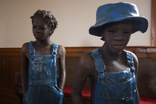 Statues of child slaves at the Whitney Plantation in Wallace Louisiana
