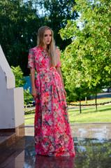 beautiful girl bright long dress